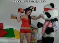 Плюшевый медведь панда прёт свою хозяйку